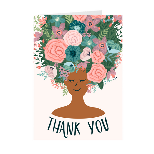 Pastel - Floral African American Girl Thank You Cards