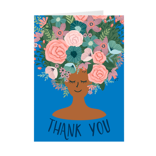 Blue - Floral African American Girl Thank You Cards