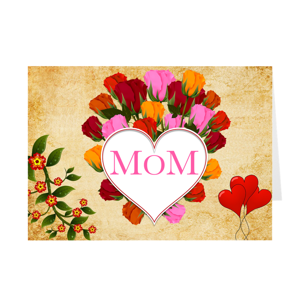 Heart & Roses - MOM - Happy Mother's Day Greeting Card