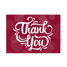Load image into Gallery viewer, Red - Fancy Lettering - Thank You Card