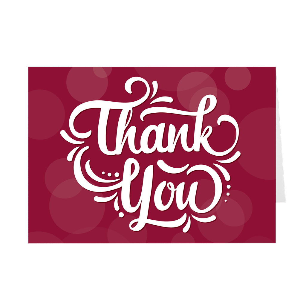 Red - Fancy Lettering - Thank You Card
