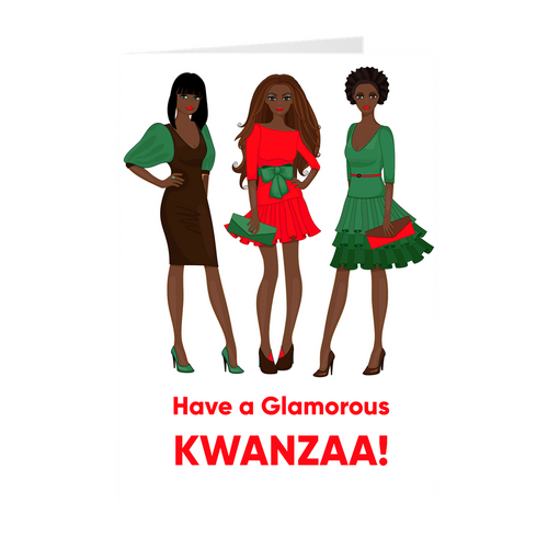 All Dressed Up Glamour Girls - Kwanzaa Greeting Cards