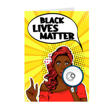 Load image into Gallery viewer, Speak Out African American Woman - Black Lives Matter Megaphone Greeting Card