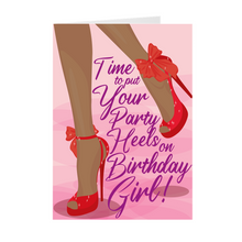 Load image into Gallery viewer, Red High Heels - African American Birthday Greeting Cards
