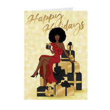 Load image into Gallery viewer, Afro Happy Holidays - Red Dress - African American Holiday Greeting Cards