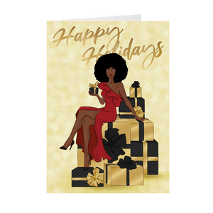 Afro Happy Holidays - Red Dress - African American Holiday Greeting Cards