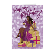 Load image into Gallery viewer, Purple & Gold - Woman & Gifts - African American Birthday Card