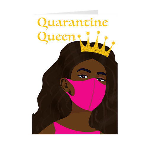 African American Girl Face Mask & Crown- Quarantine Queen Greeting Card