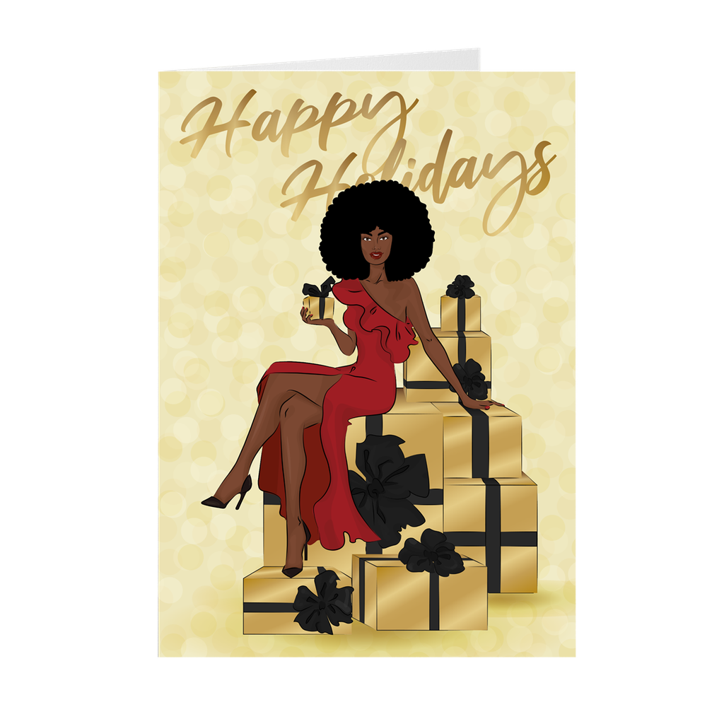 Afro Happy Holidays - Red Dress- African American Holiday Greeting Cards
