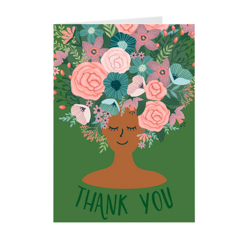 Green - Floral African American Girl Thank You Cards