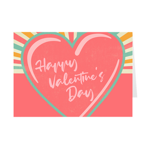 Pink Heart Rays - Happy Valentine's Day Greeting Card