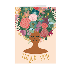 Tan - Floral African American Girl Thank You Cards