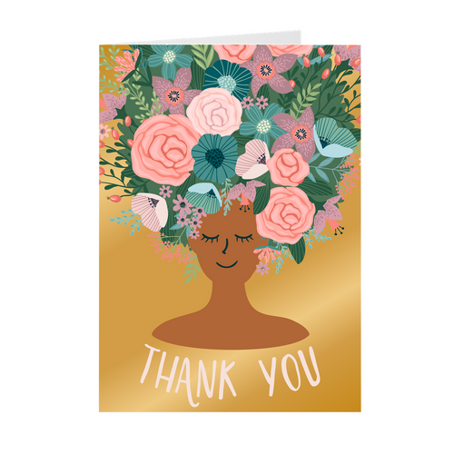 Gold - Floral African American Girl Thank You Cards
