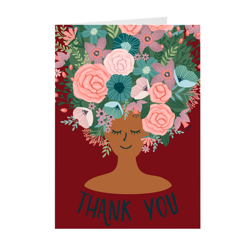 Red - Floral African American Girl Thank You Cards