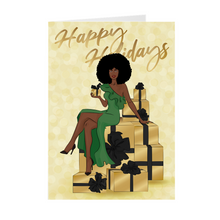 Load image into Gallery viewer, Afro Happy Holidays - Green Dress- African American Holiday Greeting Cards