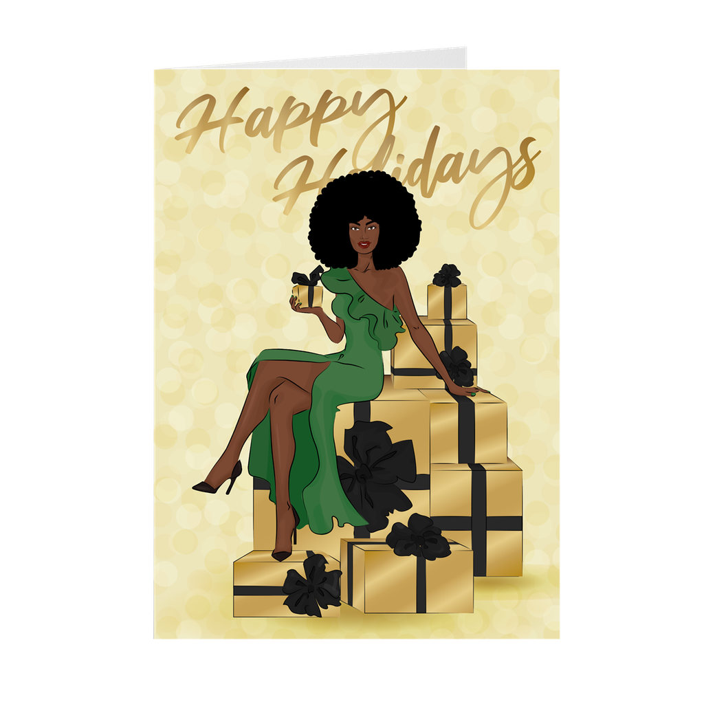 Afro Happy Holidays - Green Dress- African American Holiday Greeting Cards
