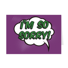 Load image into Gallery viewer, Purple & Green - I'm So Sorry Pop Art Greeting Card