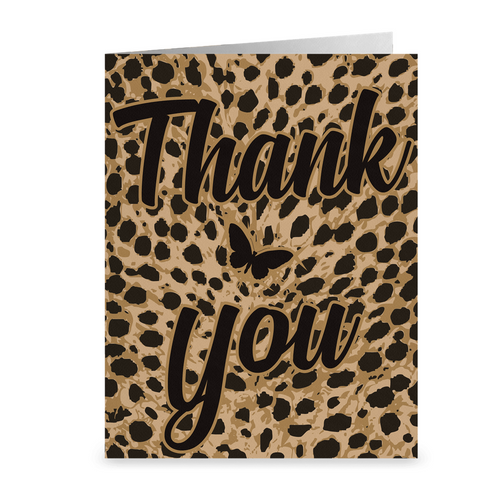 Butterfly - Leopard Print Thank You Greeting Card