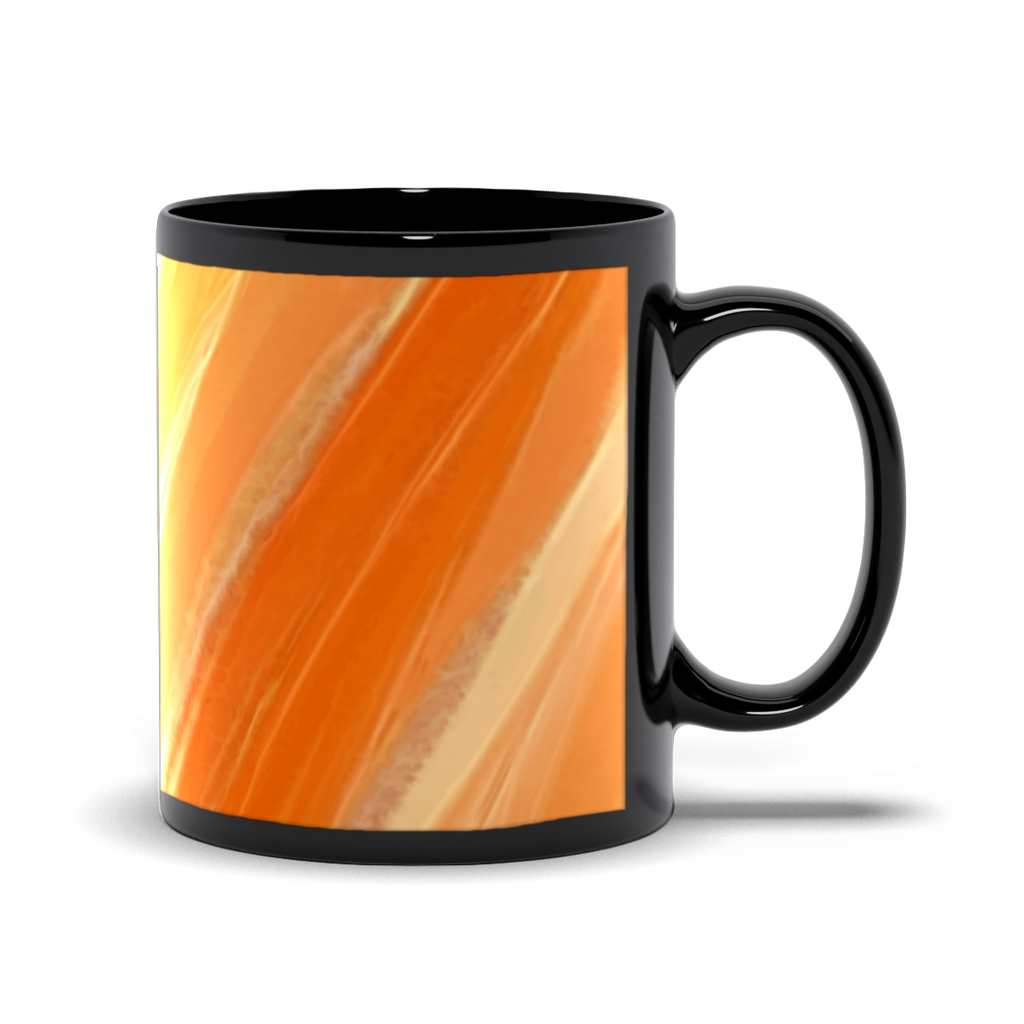 Splash of Genius - Orange, Gold & White - Black Coffee Mug