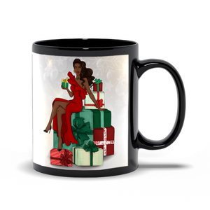 All Dressed Up In The Holidays Black Coffee Mug