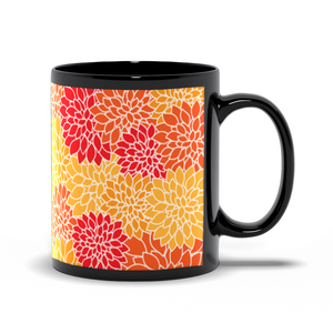 Floral Dreams - Red Orange Gold - Black Coffee Mug