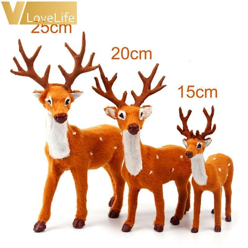Christmas Reindeer.Plush Christmas Reindeer Xmas Elk Plush Simulation Yearly Gift Christmas Decorations For Home 15cm 20cm 25cm