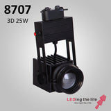 8707,25W,Mini 3D-Focusable Museum Track Light  For Museum Lighting ,0-10V Dimmable,21°~40°
