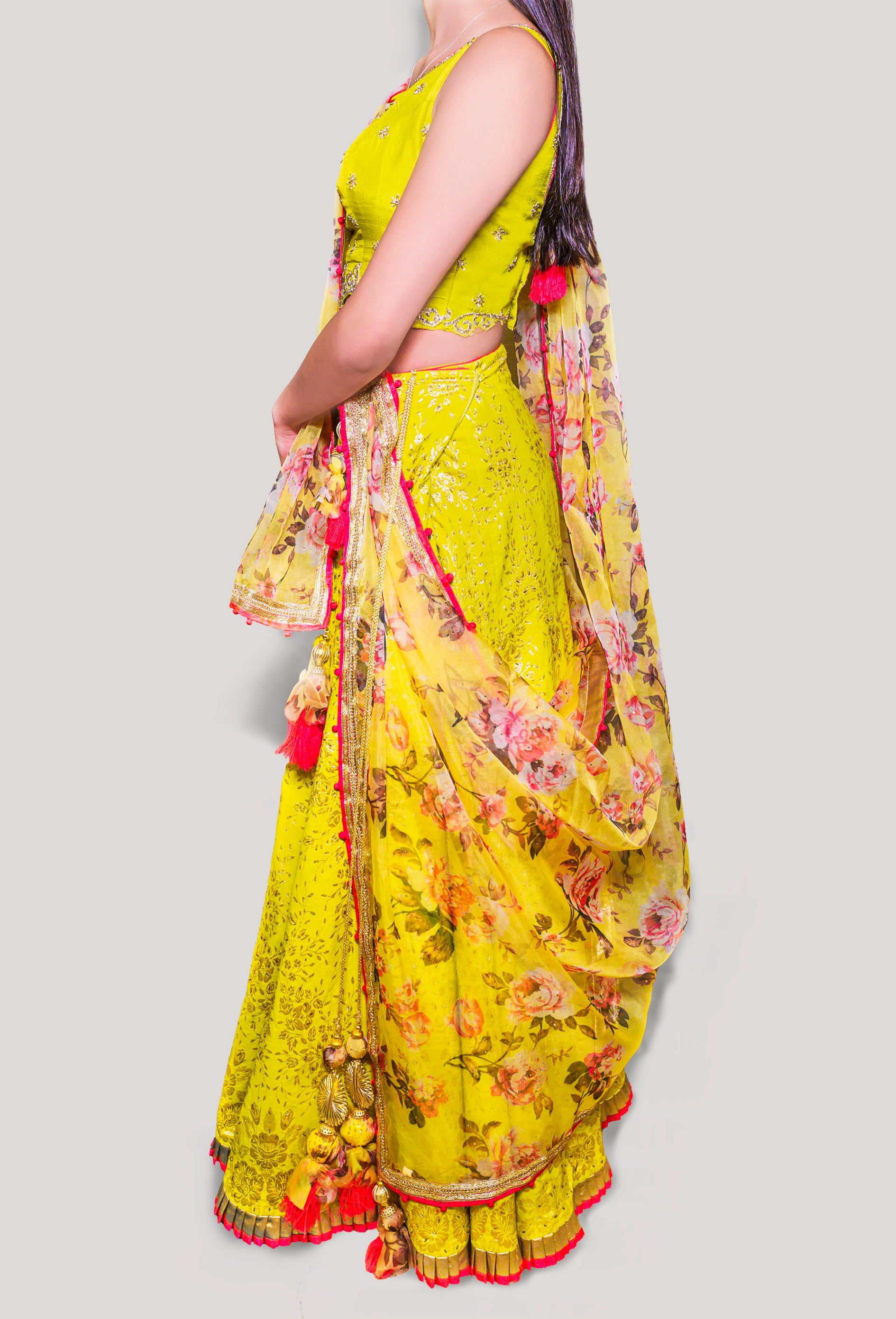MUSTARD YELLOW LEHENGA PAIRED WITH FLORAL DUPATTA & SLEEVELESS BLOUSE