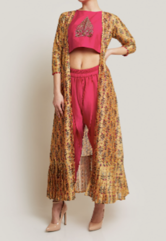 PINK DHOTI SET WITH A JACKET