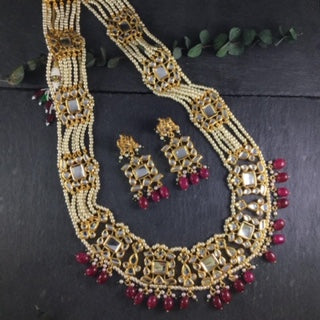 LEGACY RED LONG LAYERED NECKLACE SET BY REEMAT