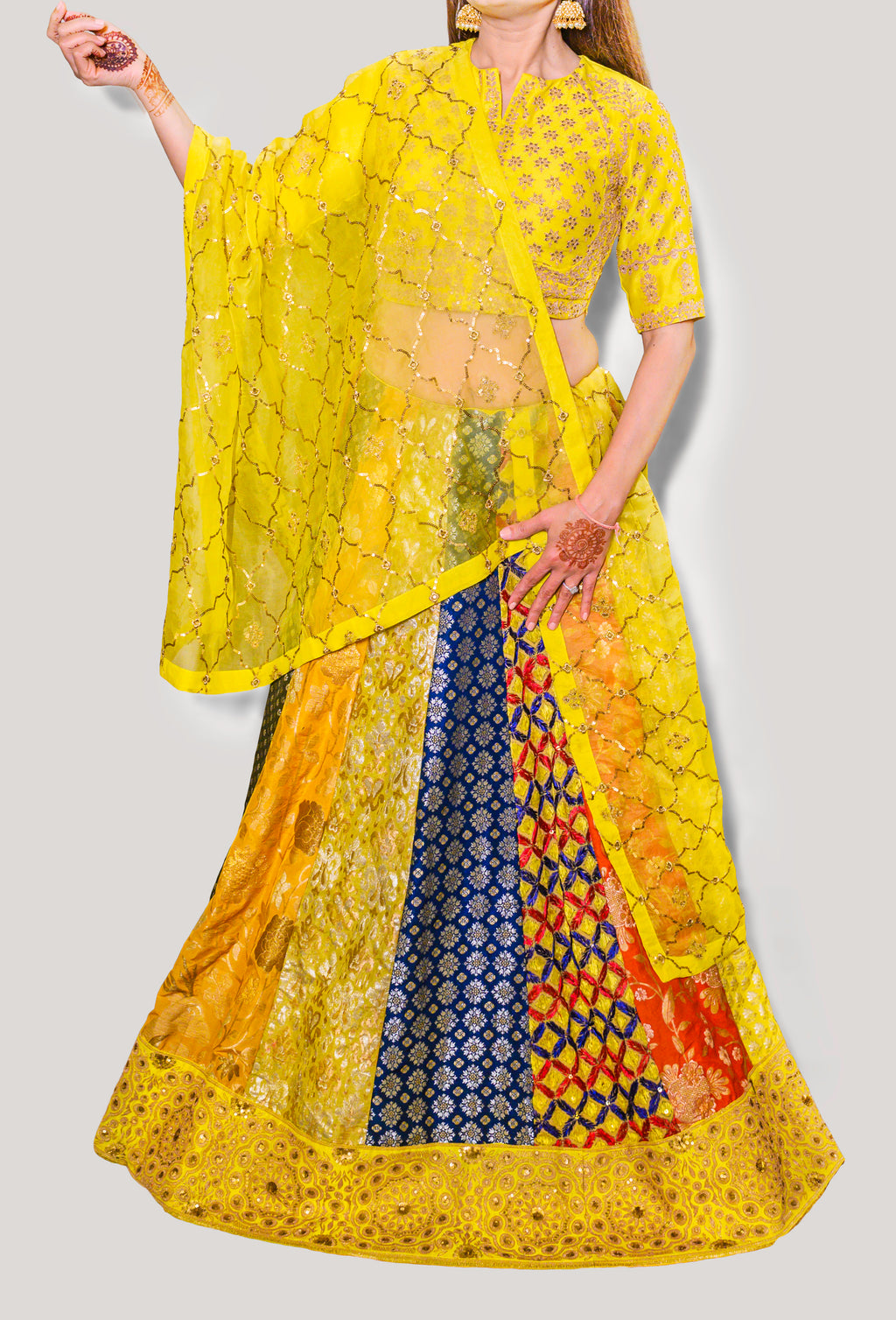 SABYASACHI INSPIRED MULTIPANEL EMROIDERED LEHENGA PAIRED WITH EMROIDERED BLOUSE AND DUPATTA