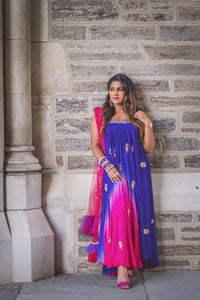 STRAPLESS FUCHSIA AND PURPLE ANARKALI BY SUJATA & SANJAY