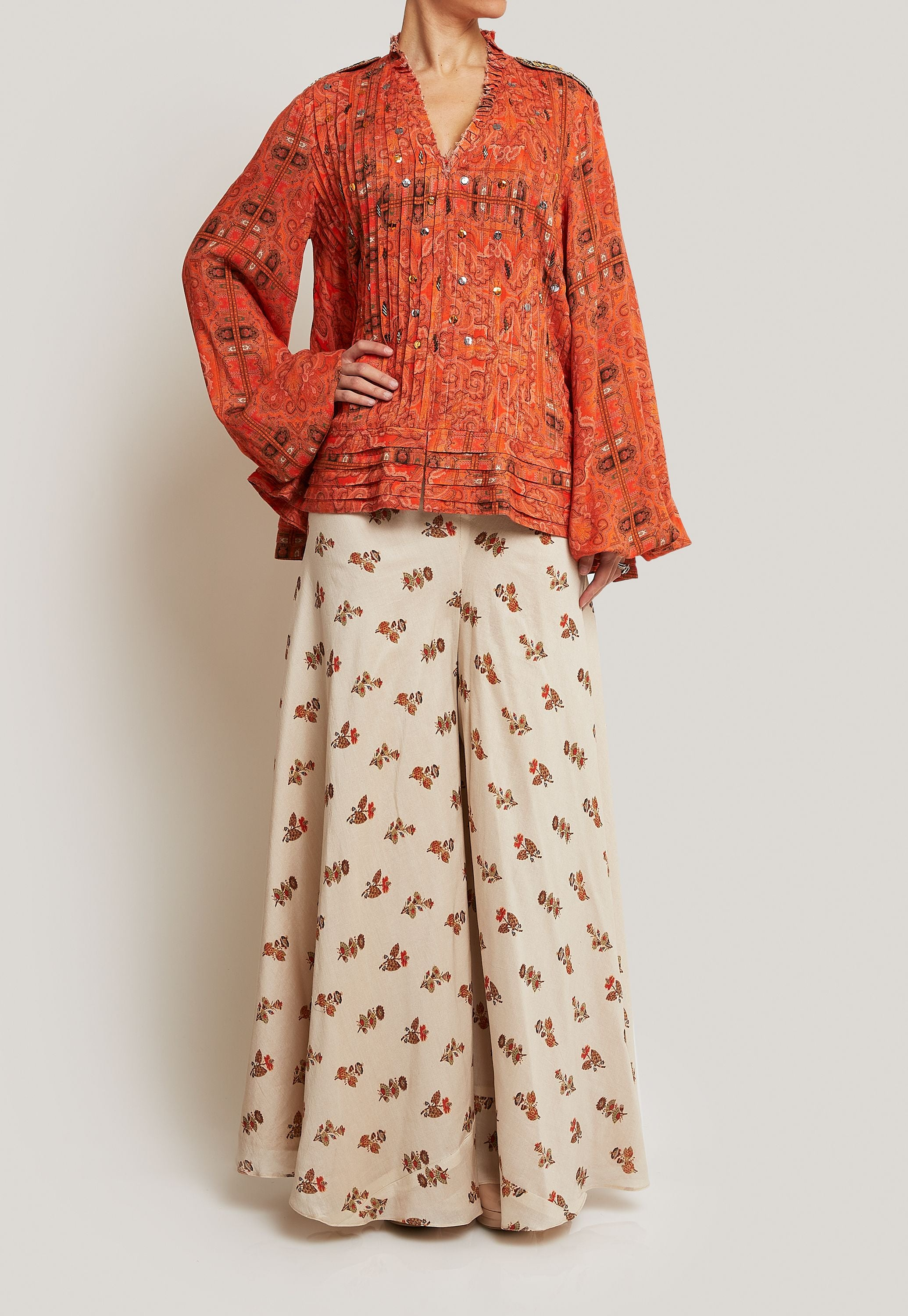ORANGE AND CREAM PALAZZO SET