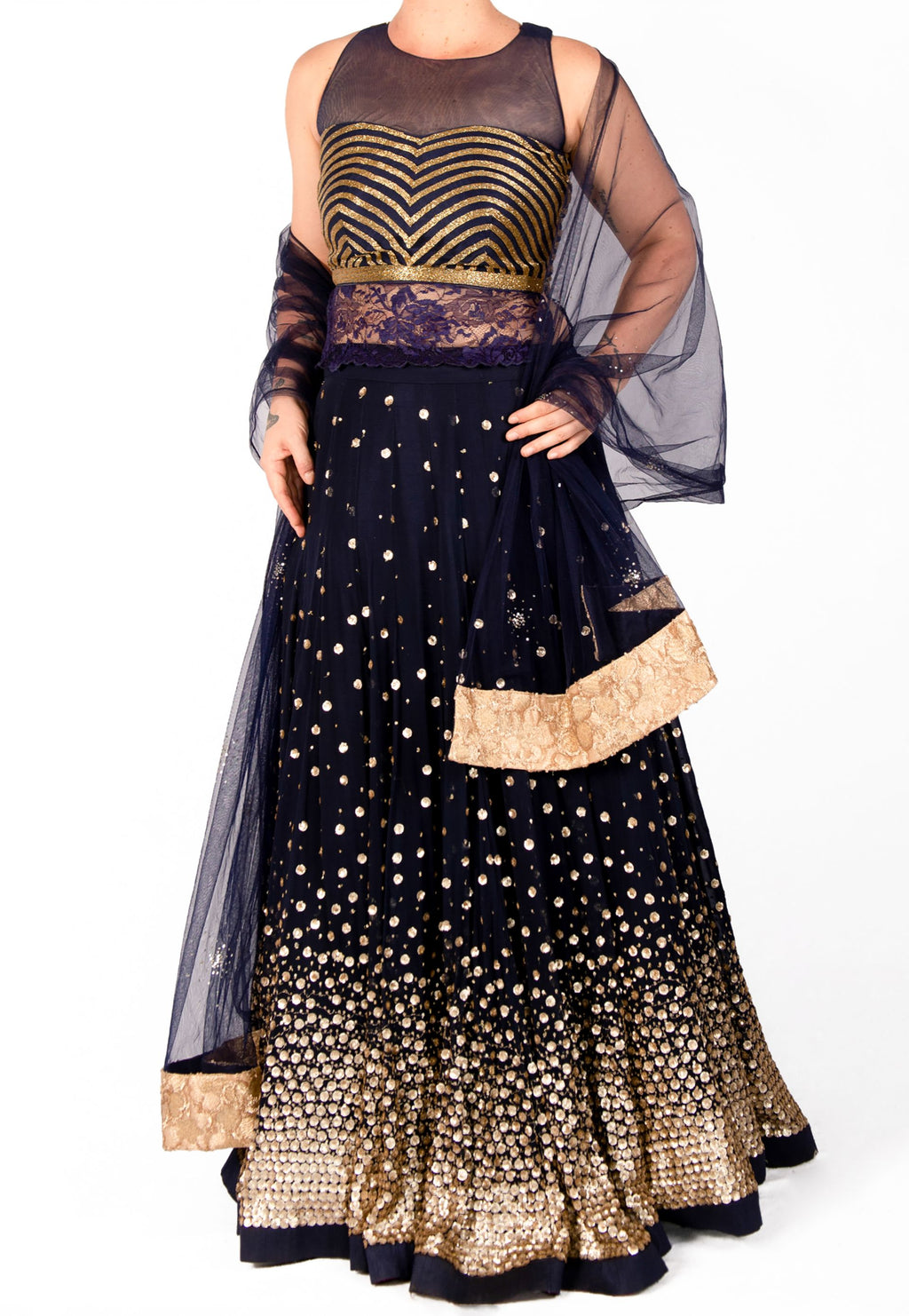 BLUE LEHENGA BY SUJATA AND SANJAY