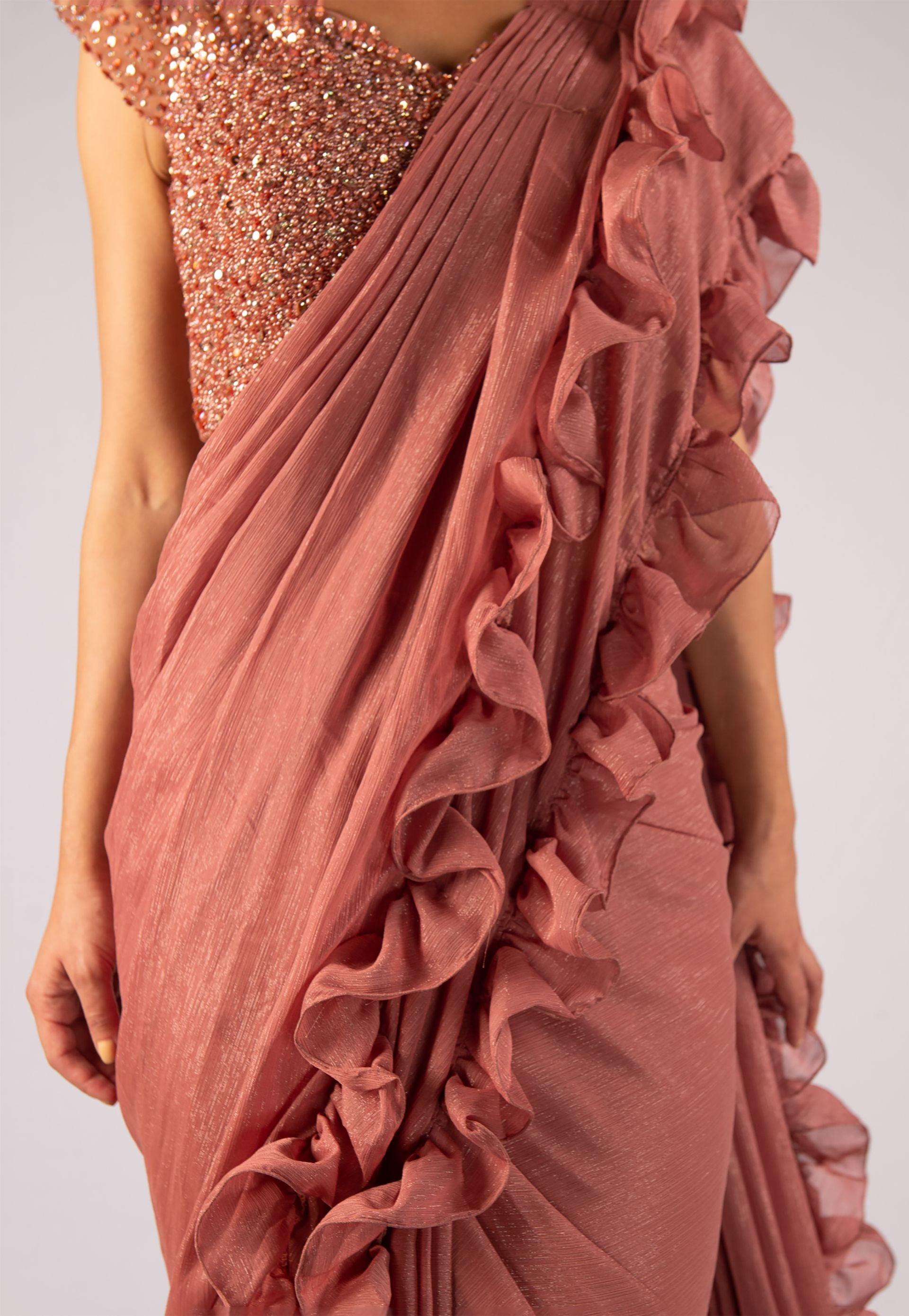 MAUVE RUFFLED METALLIC SAREE WITH SEQUINED BLOUSE