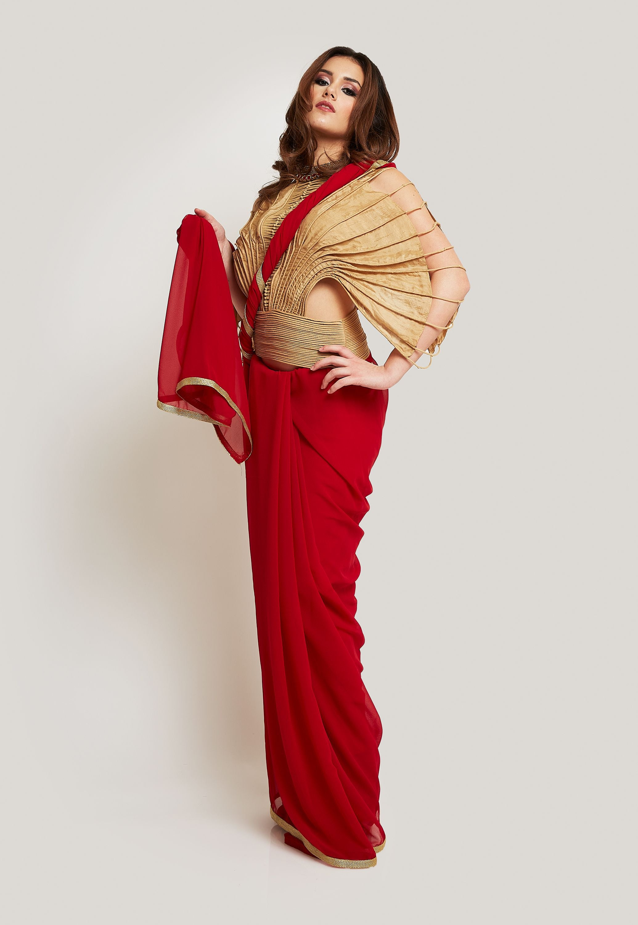 VAISHALI S. DISTINCTIVE GOLD HANDWOVEN BLOUSE WITH A RED GEORGETTE SAREE