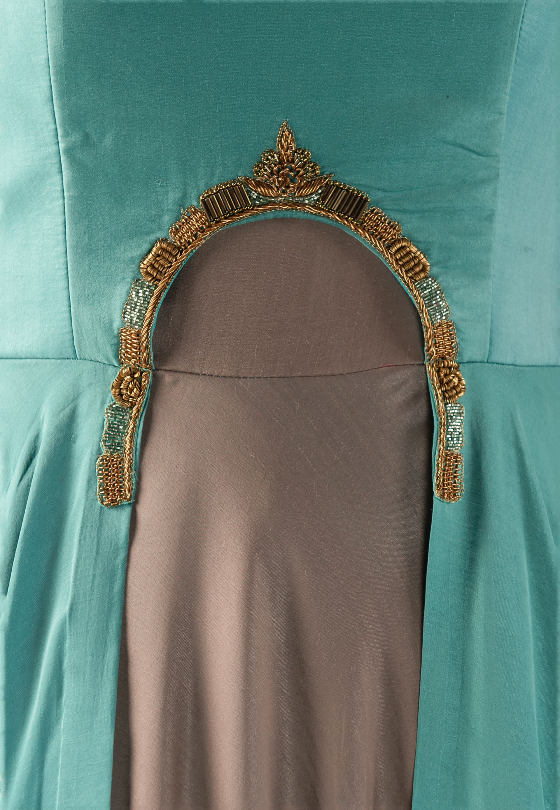GRAY AND TEAL ANARKALI WITH BEADWORK