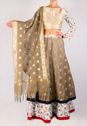 BLUE AND GRAY LEHENGA