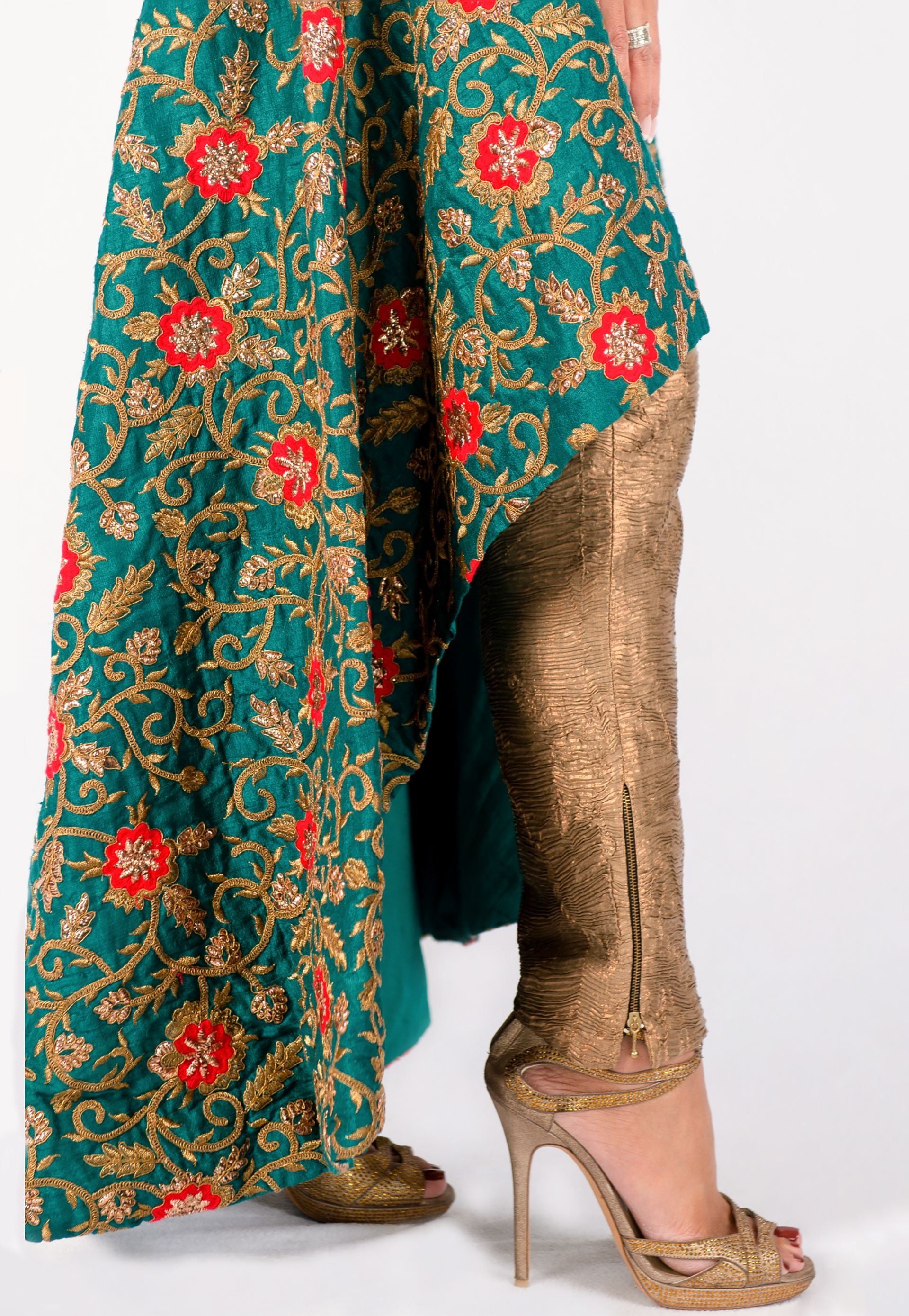 GREEN, RED AND GOLD HI-LOW KURTA PANT SET - GENTLY WORN