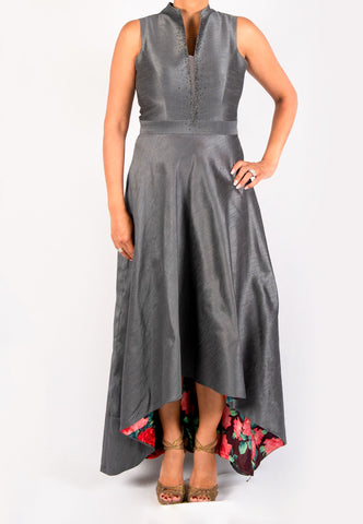 GRAY HI - LOW SILK DRESS WITH FLORAL LINING EMBELLISHED WITH SWAROVSKI CRYSTALS