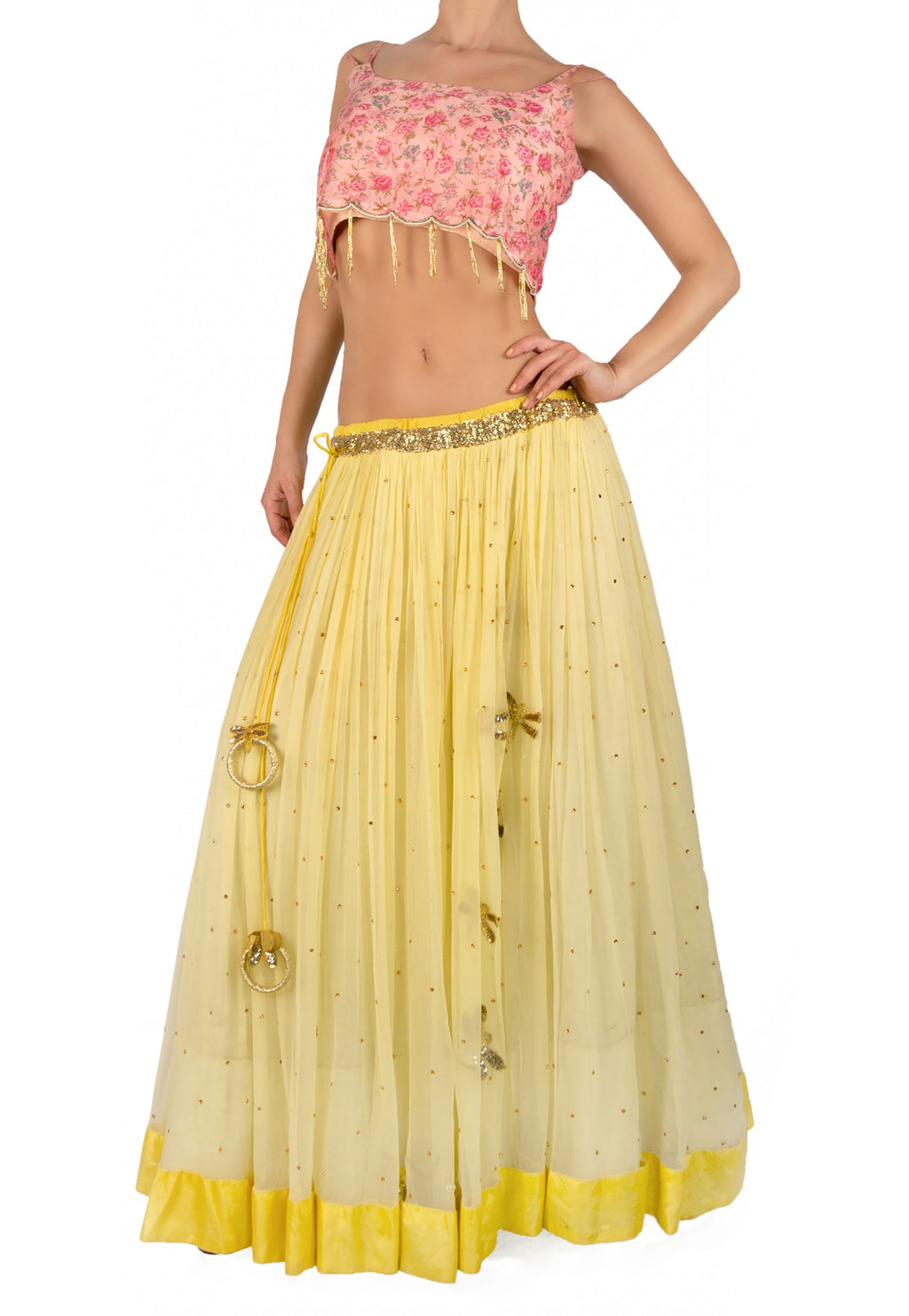 PINK AND YELLOW LEHENGA