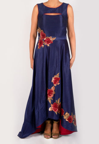 SUJATA & SANJAY BLUE SILK HI - LOW GOWN WITH RED ROSE APPLIQUÉ - GENTLY WORN