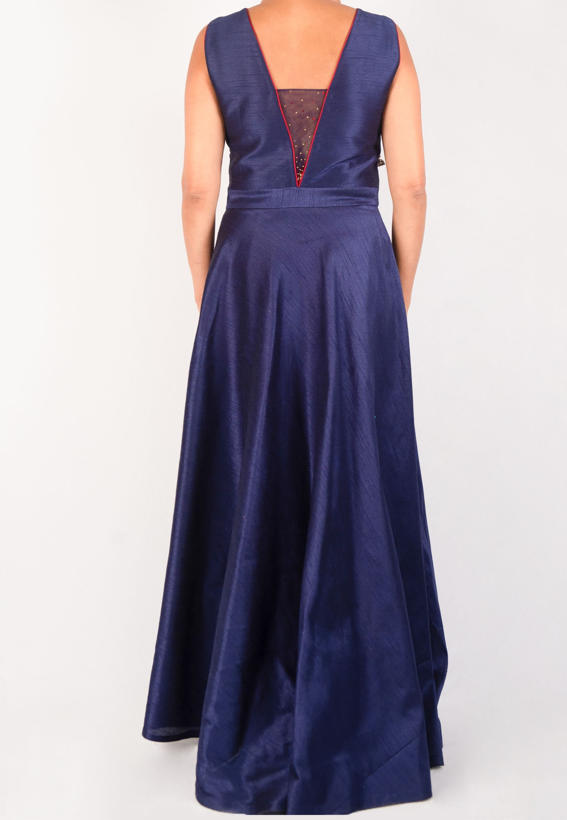 BLUE SILK HI - LOW GOWN WITH RED ROSE APPLIQUÉ