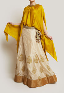 MUSTARD YELLOW, CREAM AND ANTIQUE GOLD LEHENGA SET