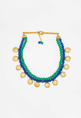 GREEN AND BLUE MULTI-LAYER BEAD NECKLACE WITH BOLD GOLD BEADS