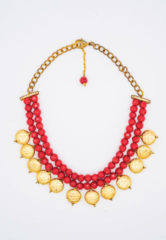 RED MULTI-LAYER BEAD NECKLACE WITH BOLD GOLD BEADS