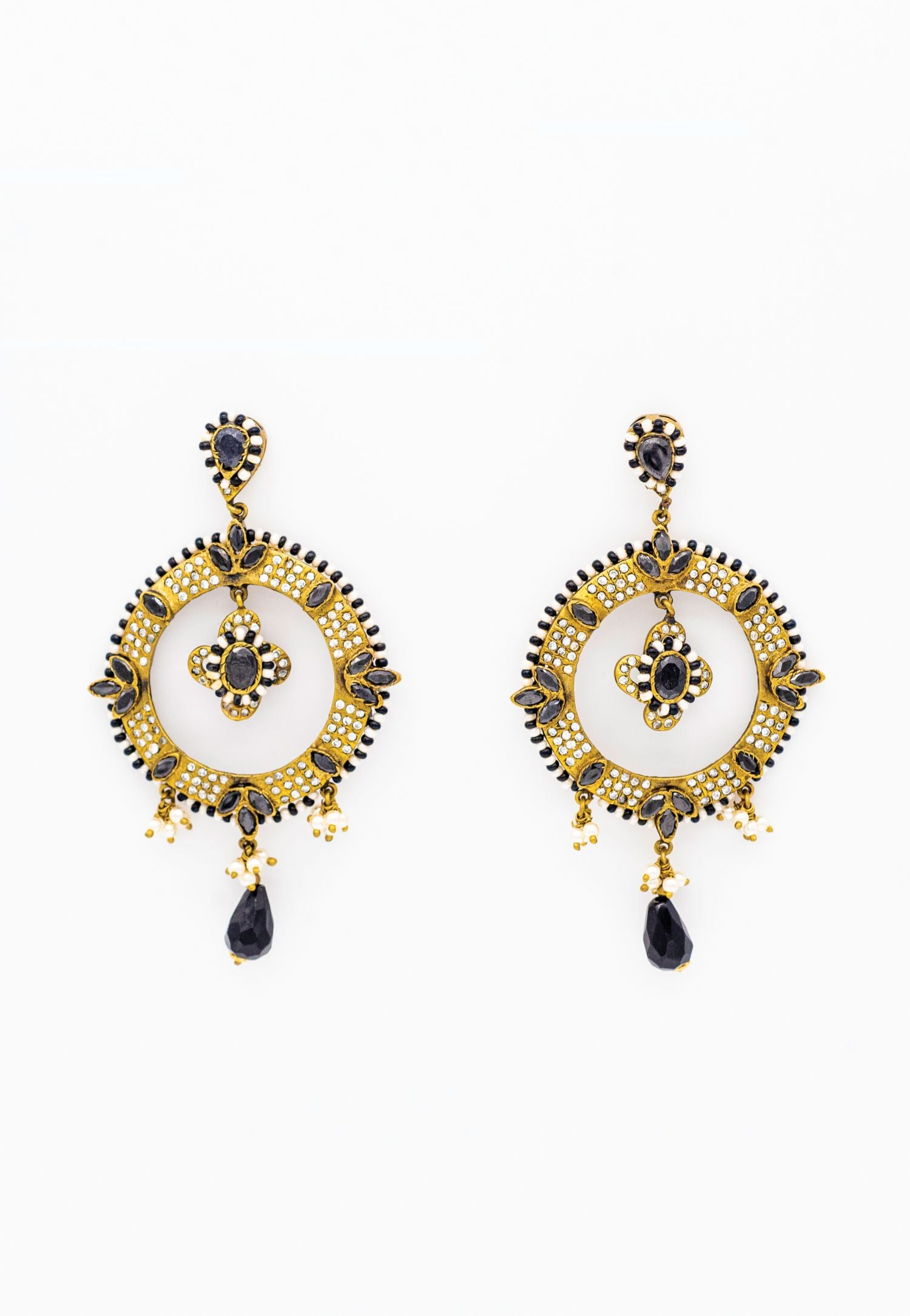 MUTED GOLD EARRINGS WITH PAVÉ WHITE AND BLACK CZ RHINESTONES AND PEARLS