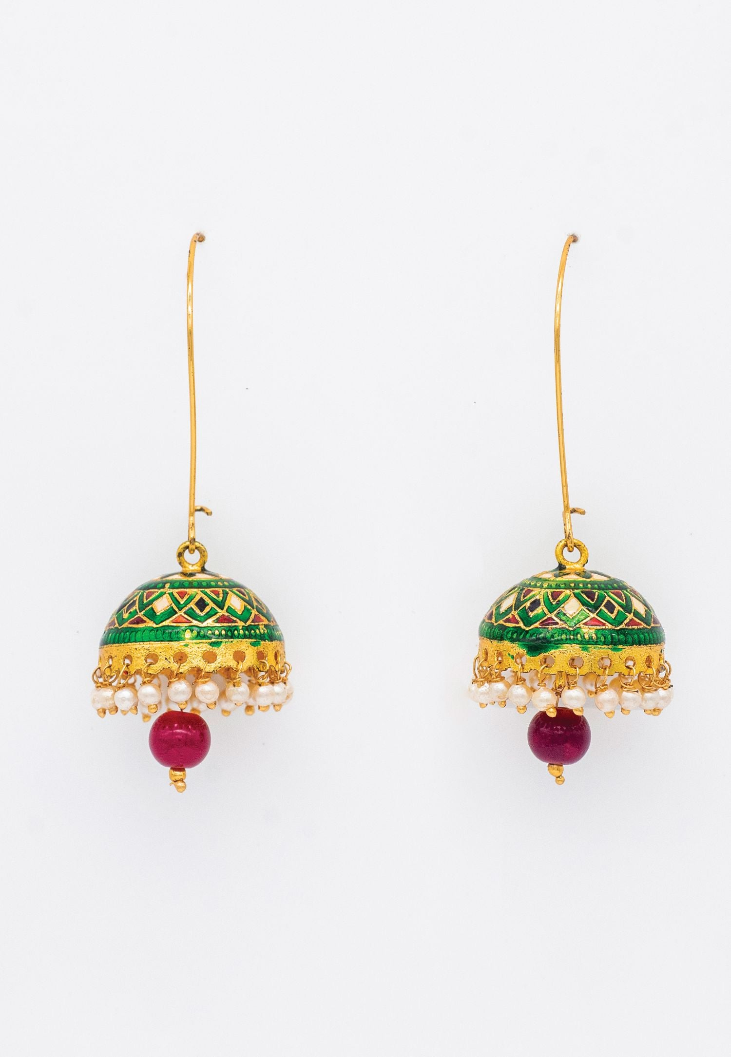 GREEN AND RED MEENAKARI HANGING EARRINGS WITH PEARL DROP