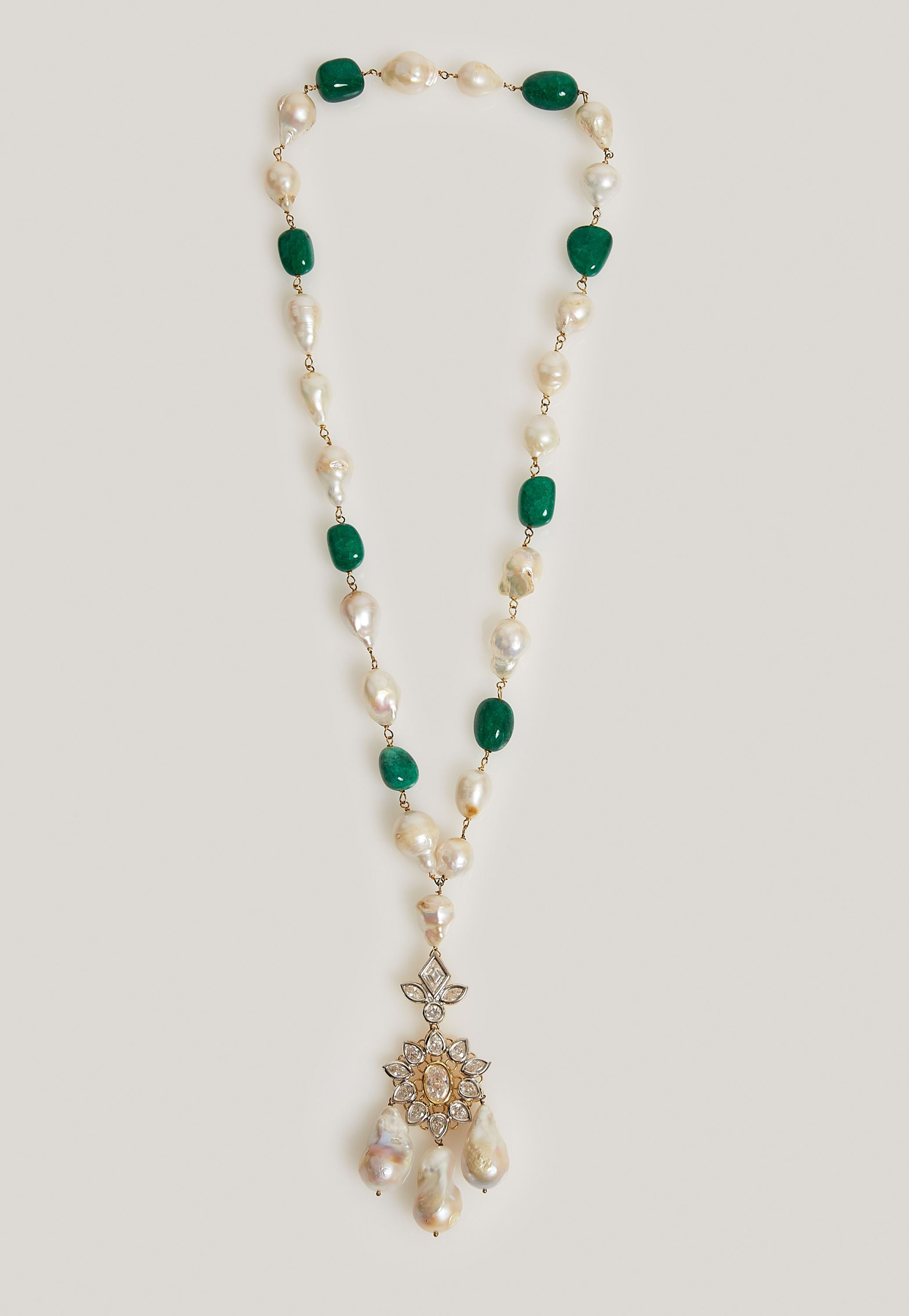PEARL AND SIMULATED EMERALD GOLD NECKLACE