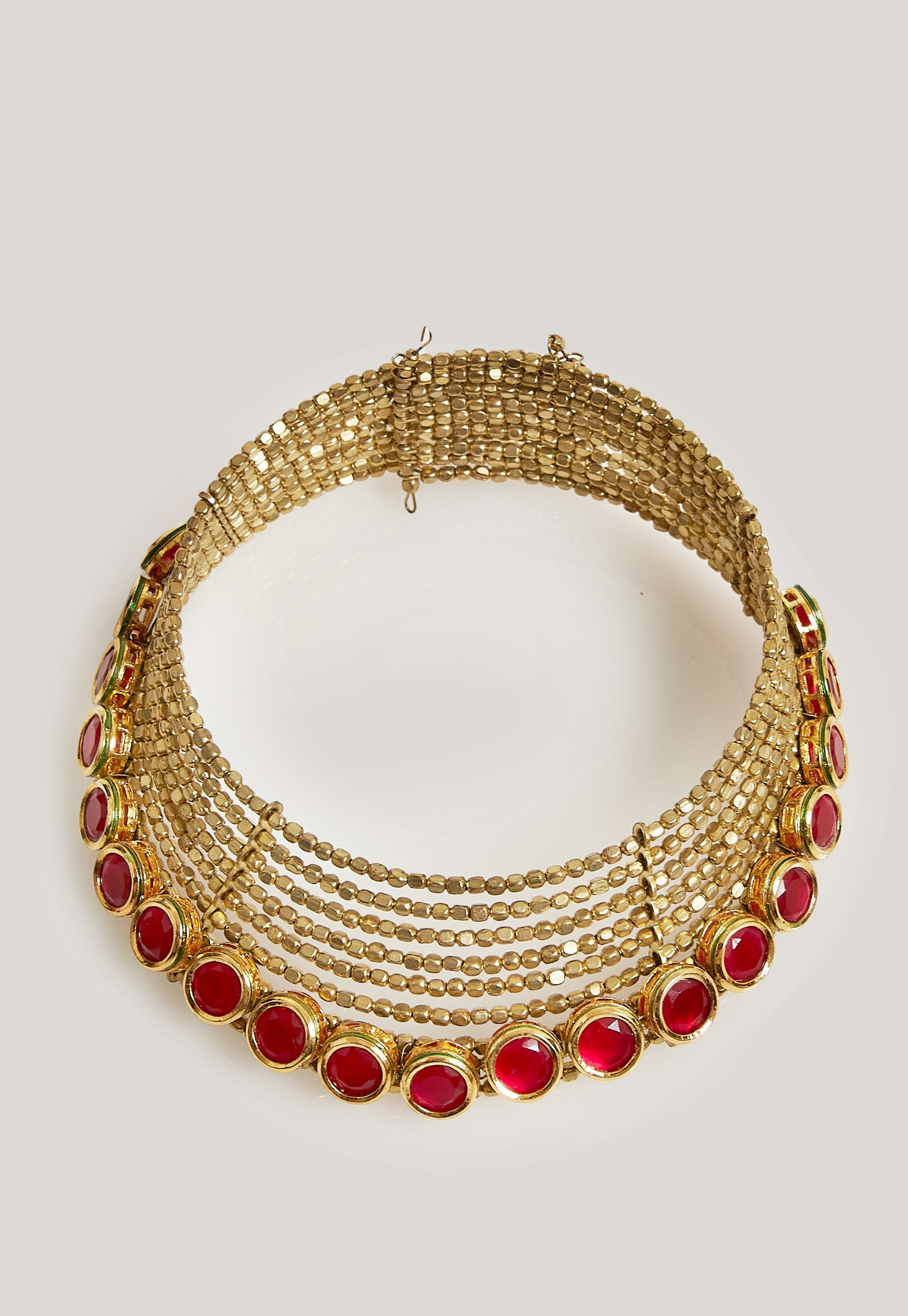 GOLD AND SIMULATED RUBY STONES CHOKER